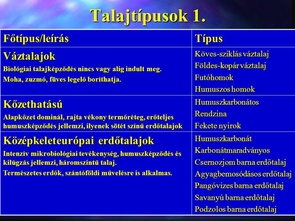 Talajtípusok 1. Főtípus/leírás Típus Váztalajok Kőzethatású
