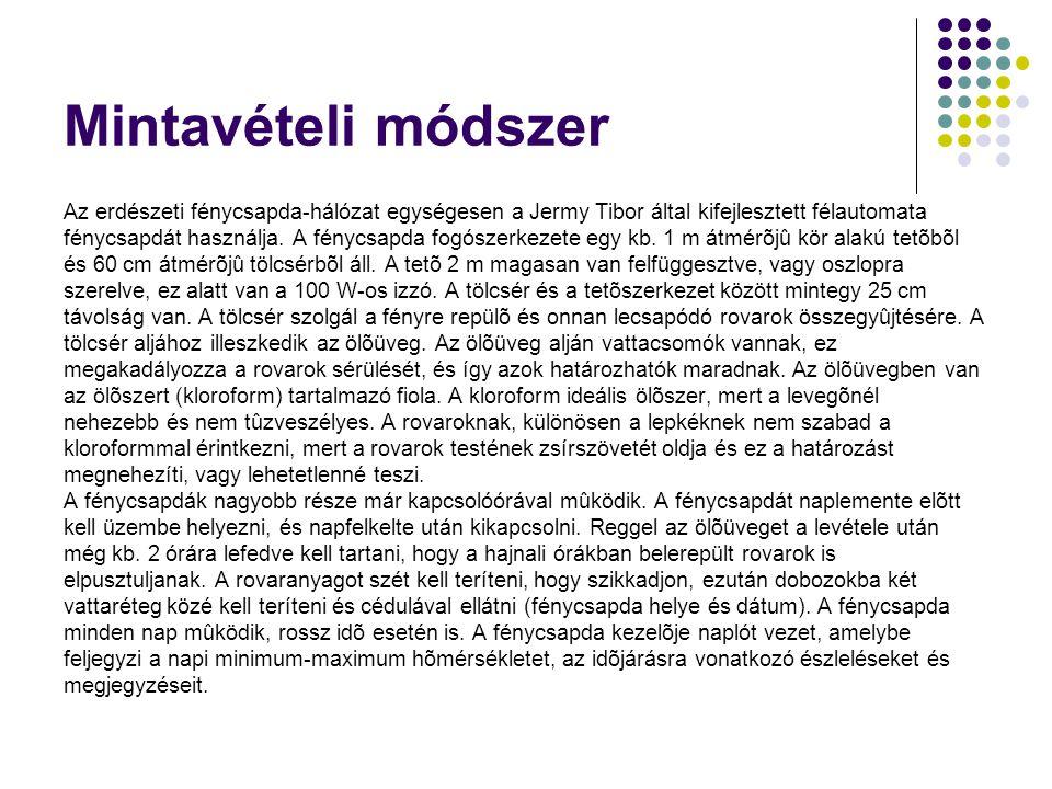 Mintavételi módszer Az erdészeti fénycsapda-hálózat egységesen a Jermy Tibor által kifejlesztett félautomata.