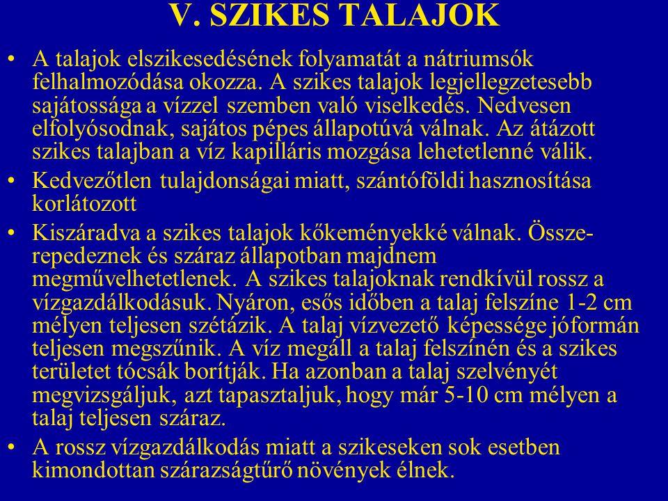 V. SZIKES TALAJOK