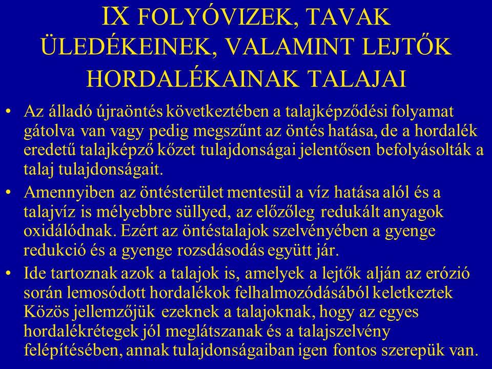 IX FOLYÓVIZEK, TAVAK ÜLEDÉKEINEK, VALAMINT LEJTŐK HORDALÉKAINAK TALAJAI