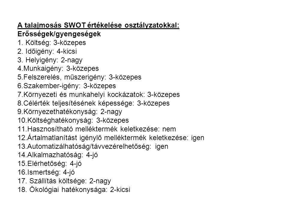 A talajmosás SWOT értékelése osztályzatokkal: Erősségek/gyengeségek 1