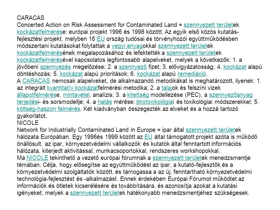 CARACAS Concerted Action on Risk Assessment for Contaminated Land = szennyezett területek kockázatfelmérése: európai projekt 1996 és 1998 között.