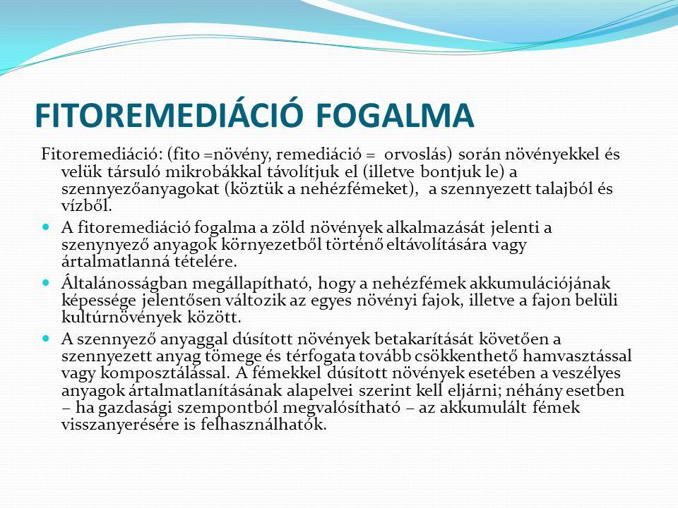 FITOREMEDIÁCIÓ FOGALMA