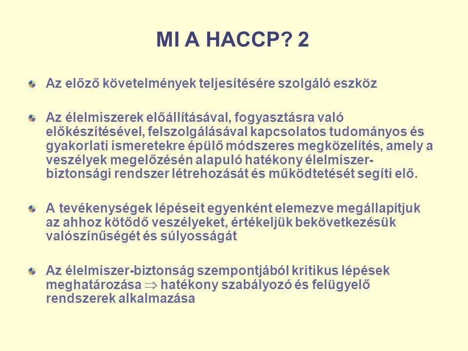 MI A HACCP 2 Az előző követelmények teljesítésére szolgáló eszköz