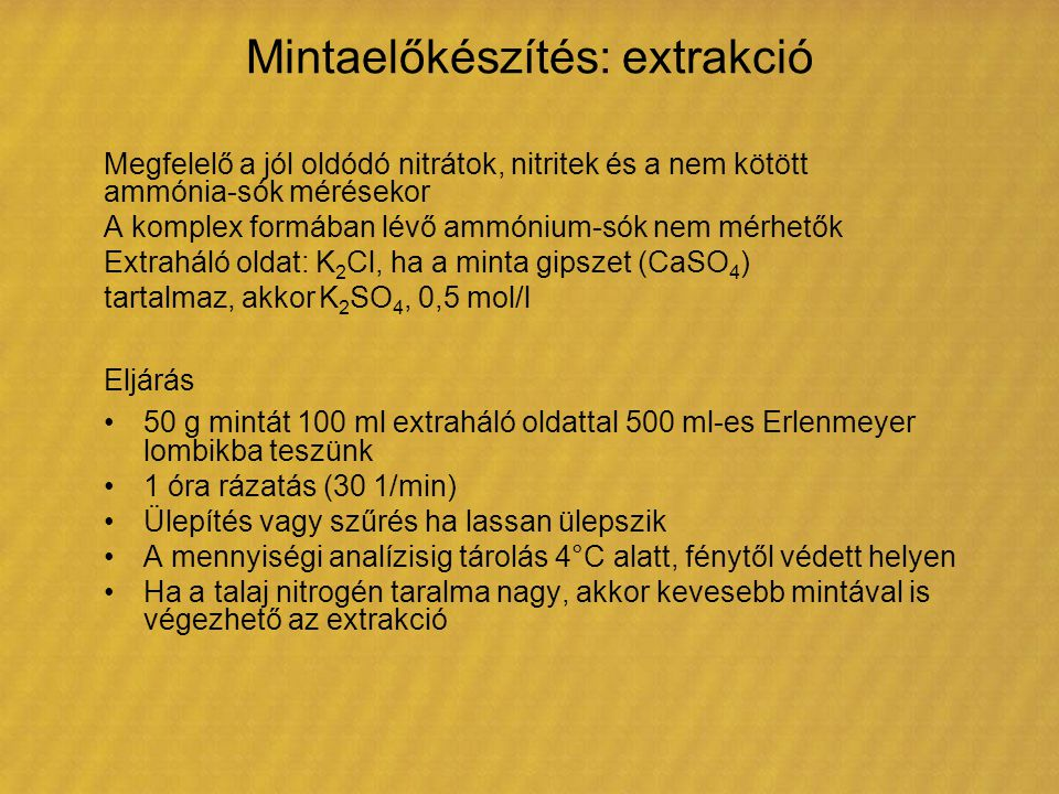 Mintaelőkészítés: extrakció