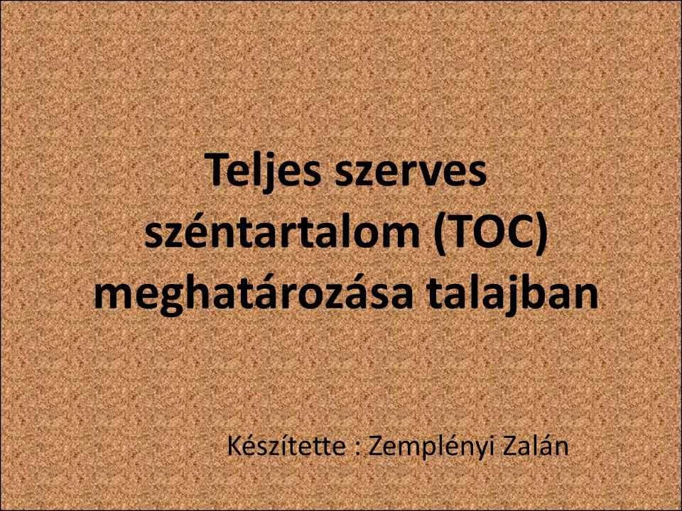 Teljes szerves széntartalom (TOC) meghatározása talajban