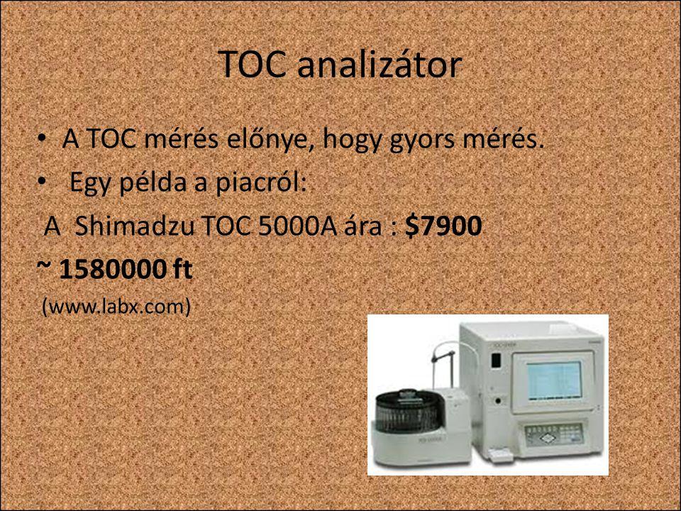 TOC analizátor A TOC mérés előnye, hogy gyors mérés.