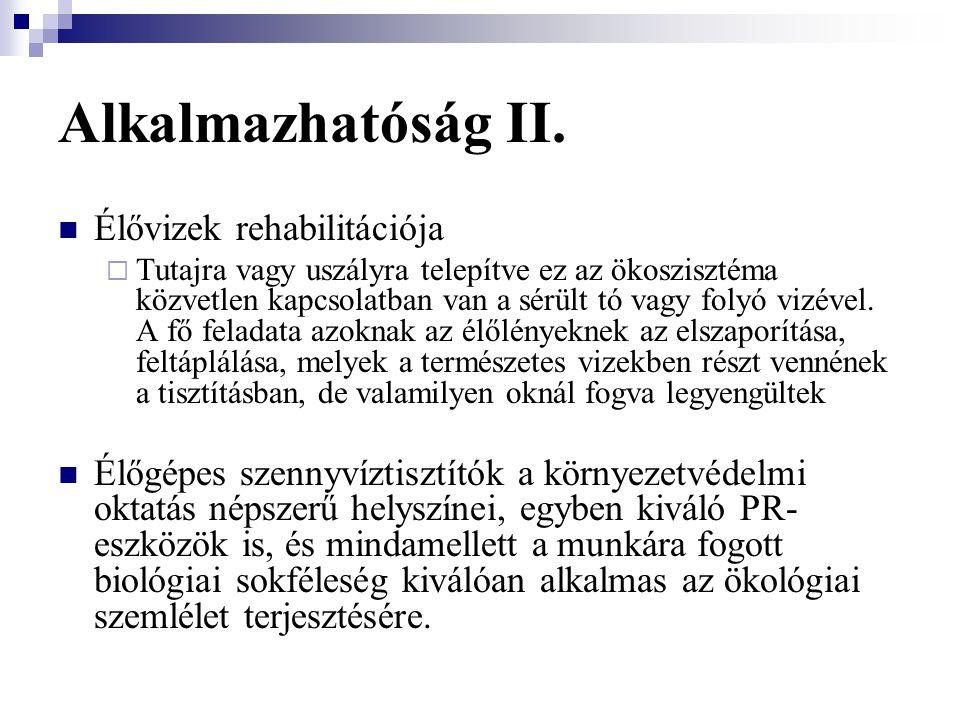 Alkalmazhatóság II. Élővizek rehabilitációja
