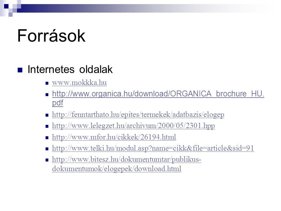 Források Internetes oldalak www.mokkka.hu