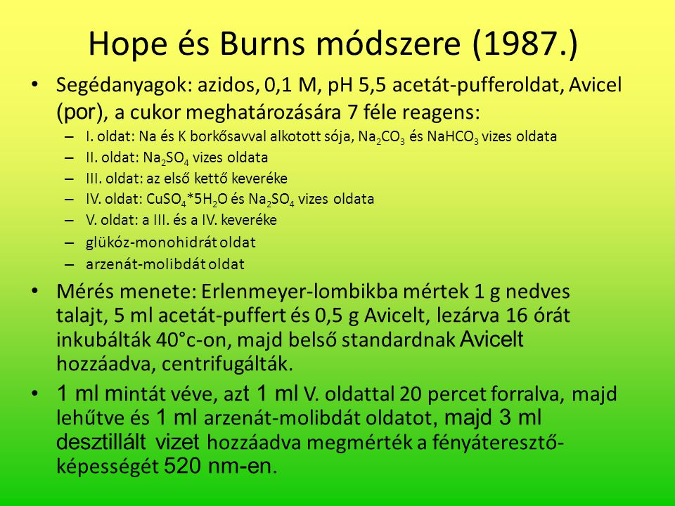 Hope és Burns módszere (1987.)