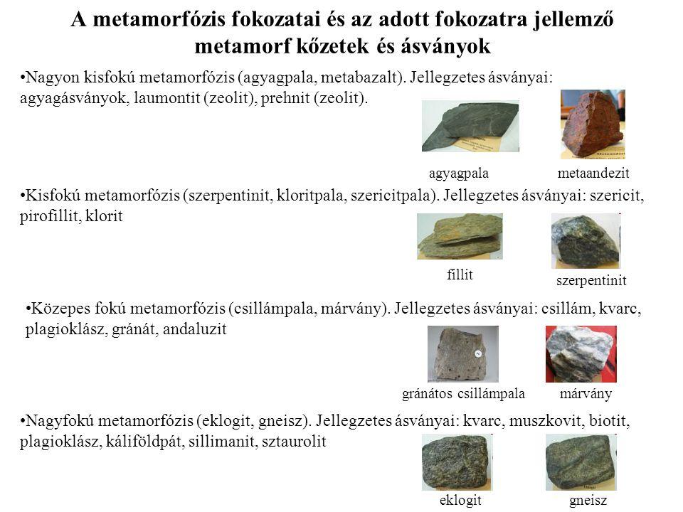 A metamorfózis fokozatai és az adott fokozatra jellemző metamorf kőzetek és ásványok