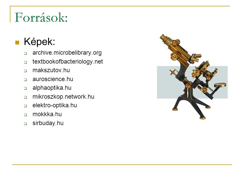Források: Képek: archive.microbelibrary.org textbookofbacteriology.net