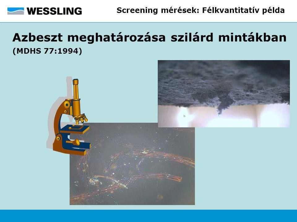 Screening mérések: Félkvantitatív példa