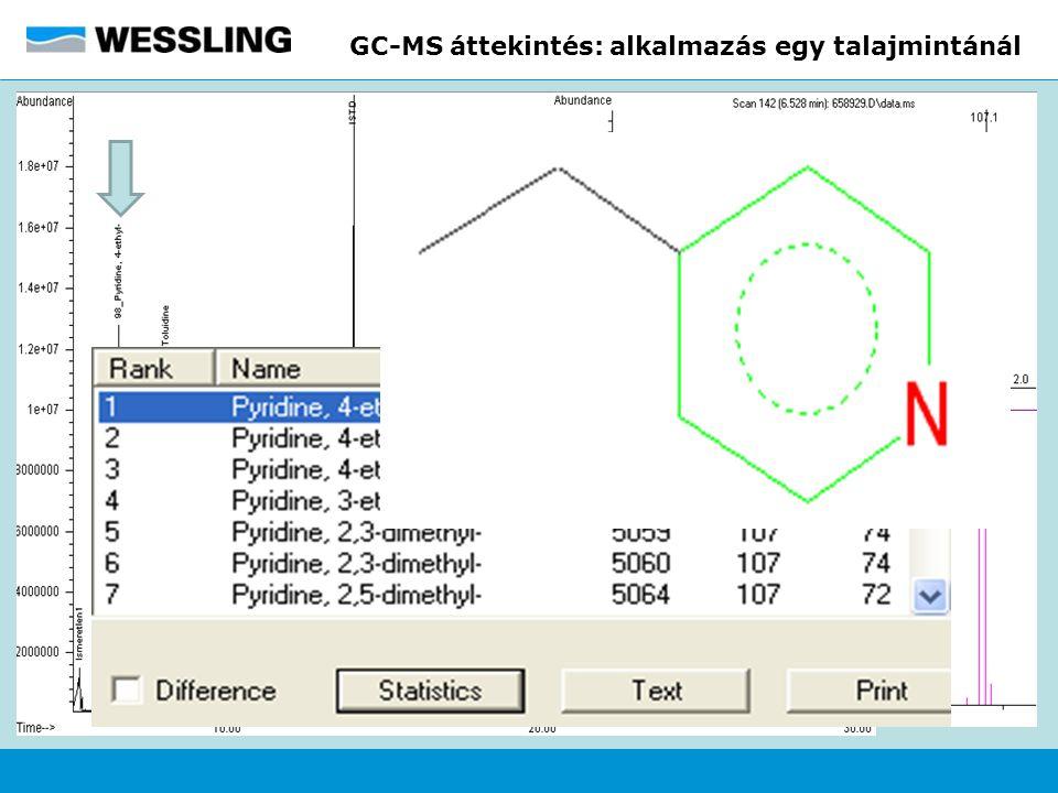 GC-MS áttekintés: alkalmazás egy talajmintánál