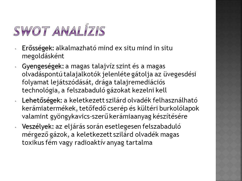 SWOT analízis Erősségek: alkalmazható mind ex situ mind in situ megoldásként.