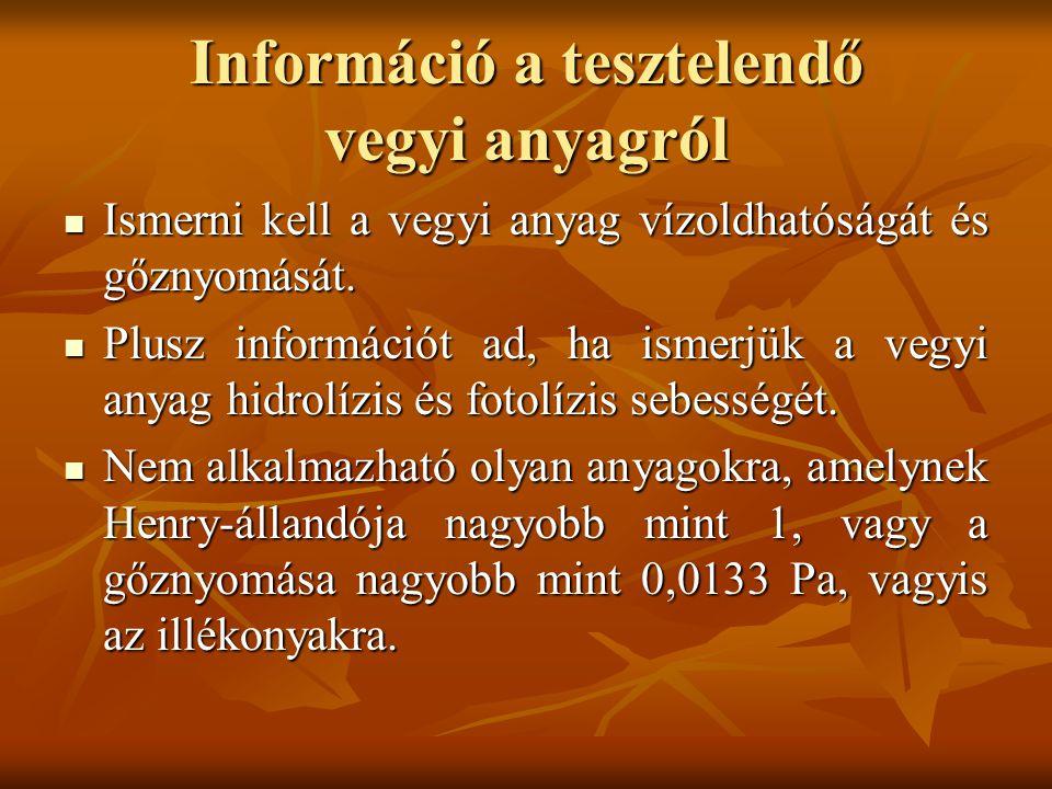 Információ a tesztelendő vegyi anyagról