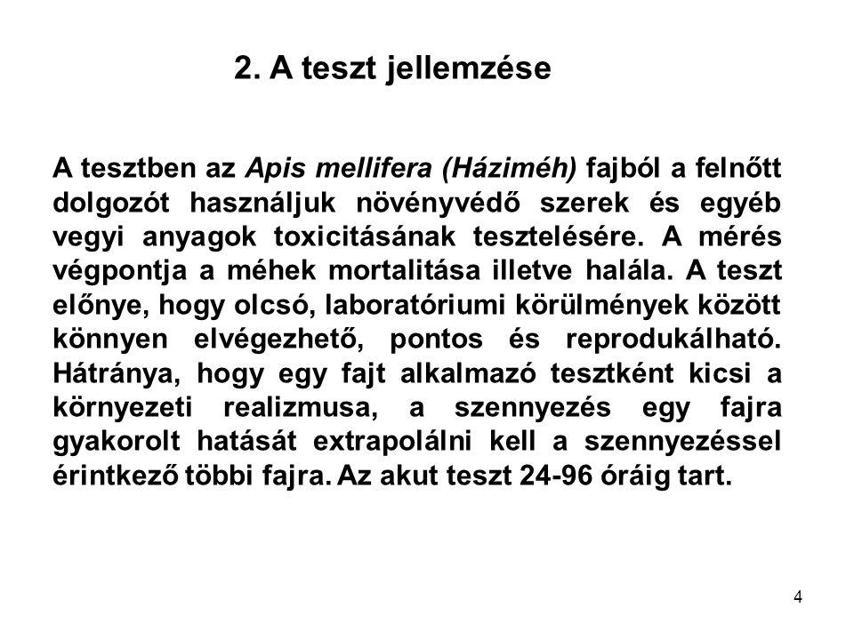 2. A teszt jellemzése