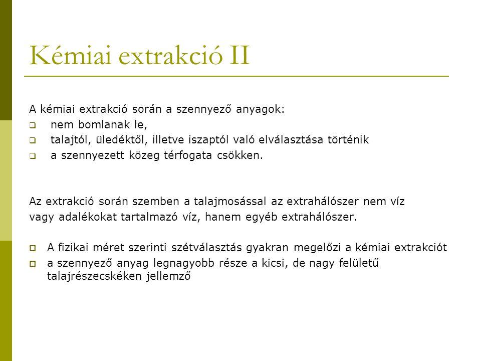 Kémiai extrakció II A kémiai extrakció során a szennyező anyagok: