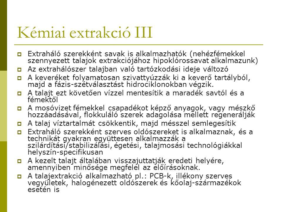 Kémiai extrakció III Extraháló szerekként savak is alkalmazhatók (nehézfémekkel szennyezett talajok extrakciójához hipoklórossavat alkalmazunk)