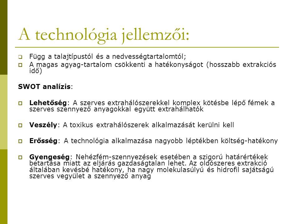 A technológia jellemzői: