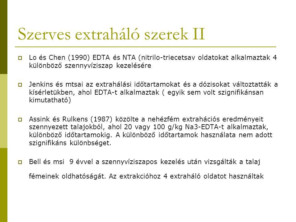 Szerves extraháló szerek II