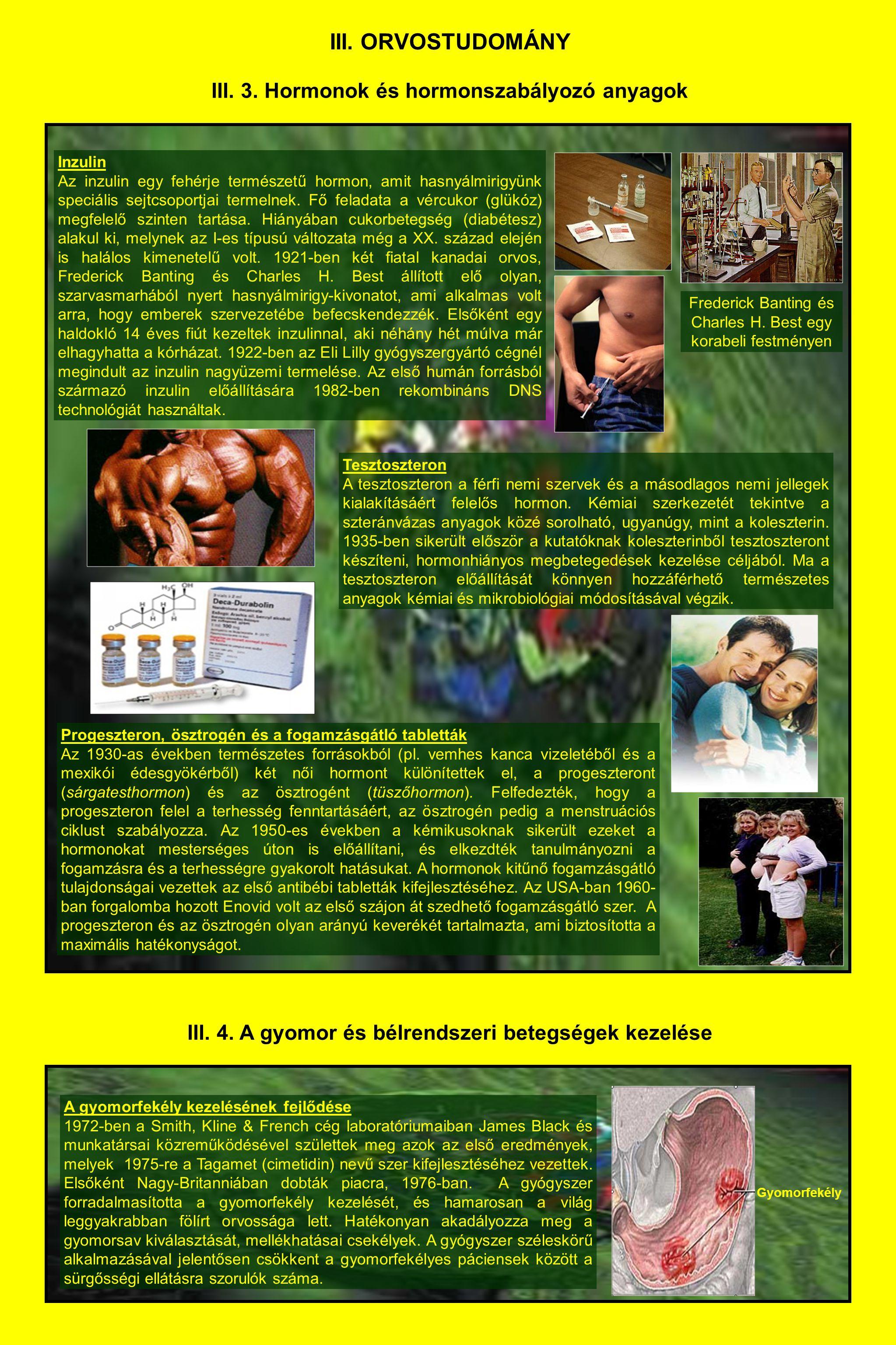 III. ORVOSTUDOMÁNY III. 3. Hormonok és hormonszabályozó anyagok