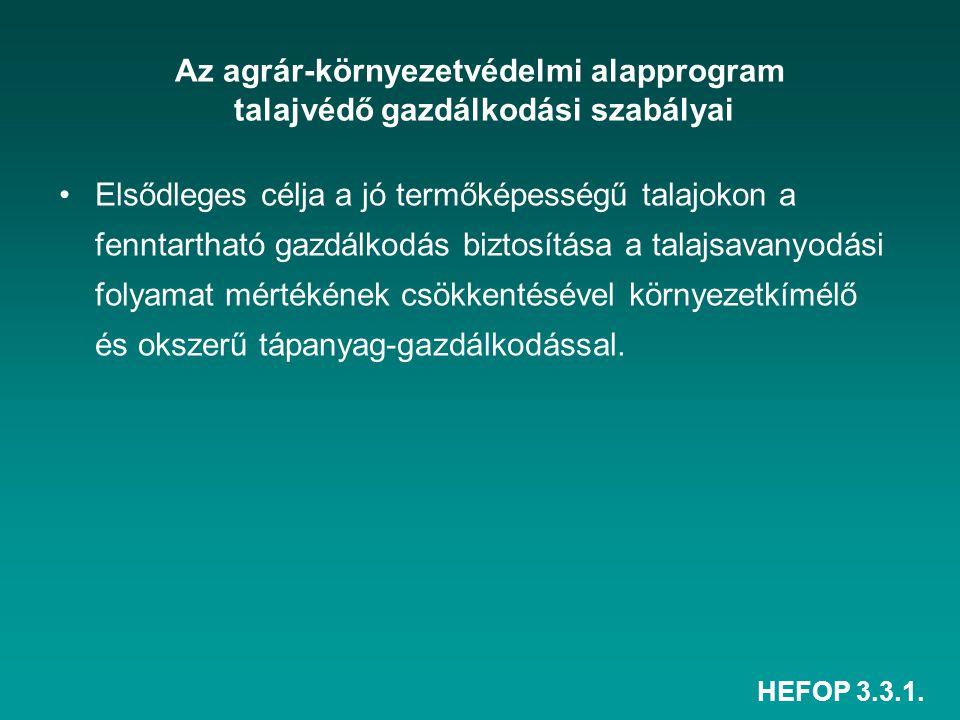 Az agrár-környezetvédelmi alapprogram talajvédő gazdálkodási szabályai