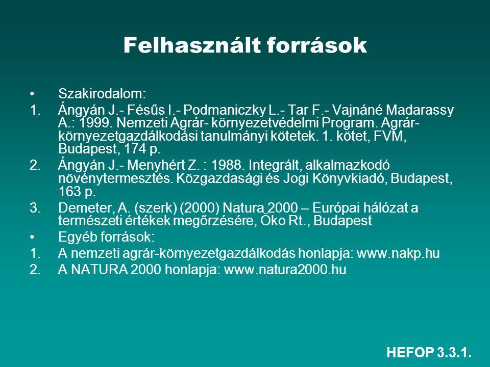 Felhasznált források Szakirodalom:
