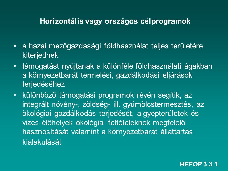 Horizontális vagy országos célprogramok