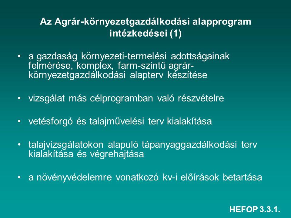 Az Agrár-környezetgazdálkodási alapprogram intézkedései (1)