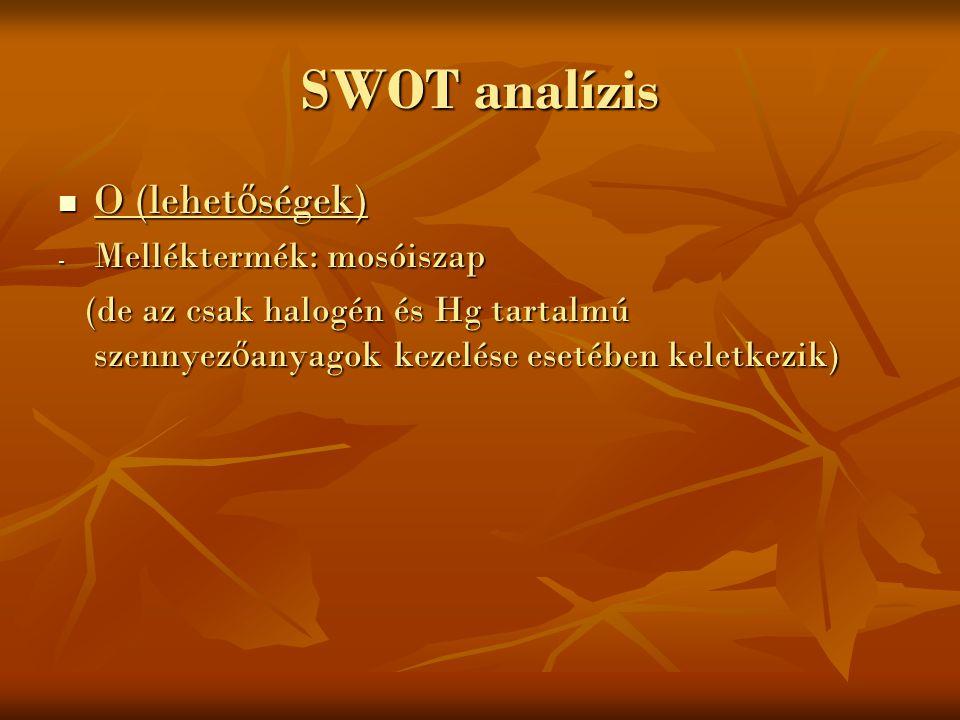 SWOT analízis O (lehetőségek) Melléktermék: mosóiszap