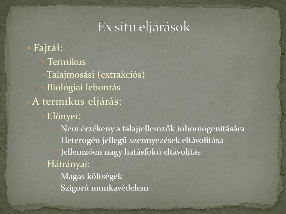 Ex situ eljárások Fajtái: Termikus Talajmosási (extrakciós)