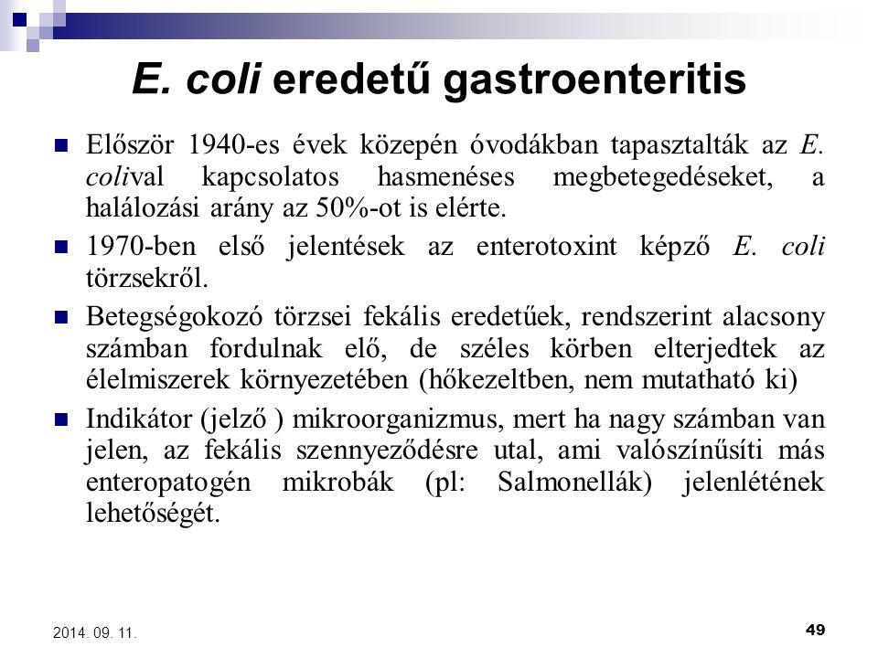 E. coli eredetű gastroenteritis