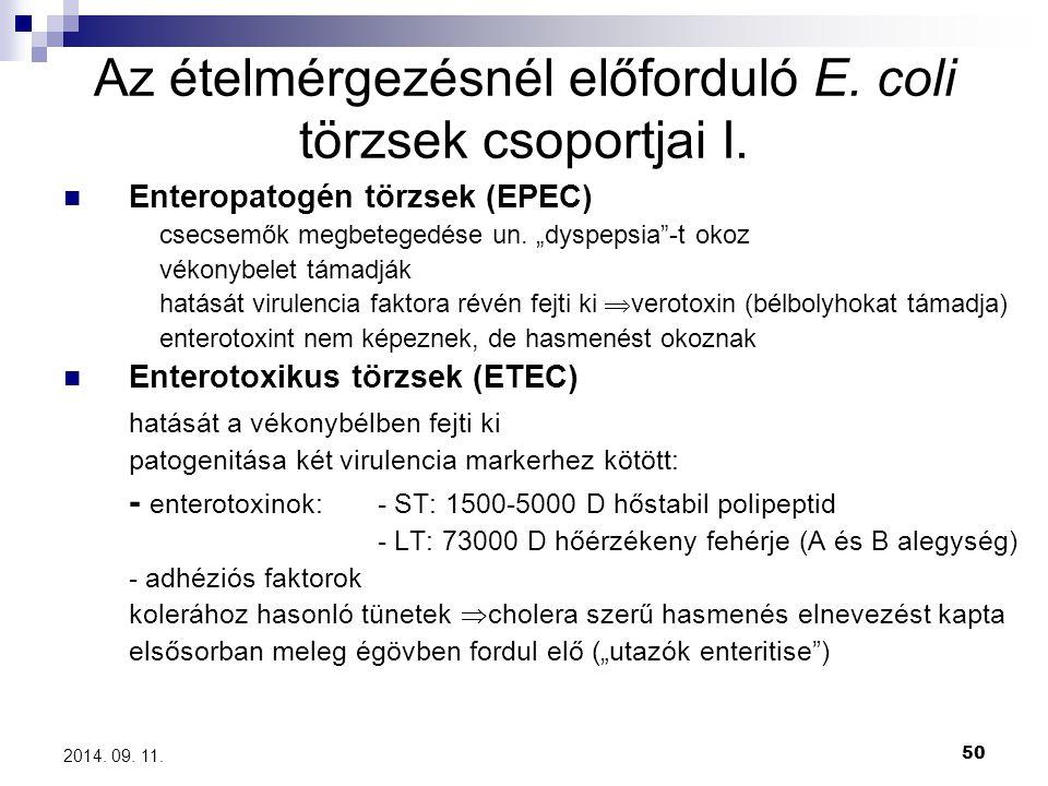 Az ételmérgezésnél előforduló E. coli törzsek csoportjai I.