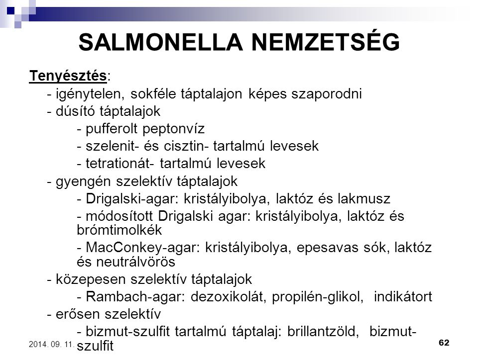 SALMONELLA NEMZETSÉG Tenyésztés: