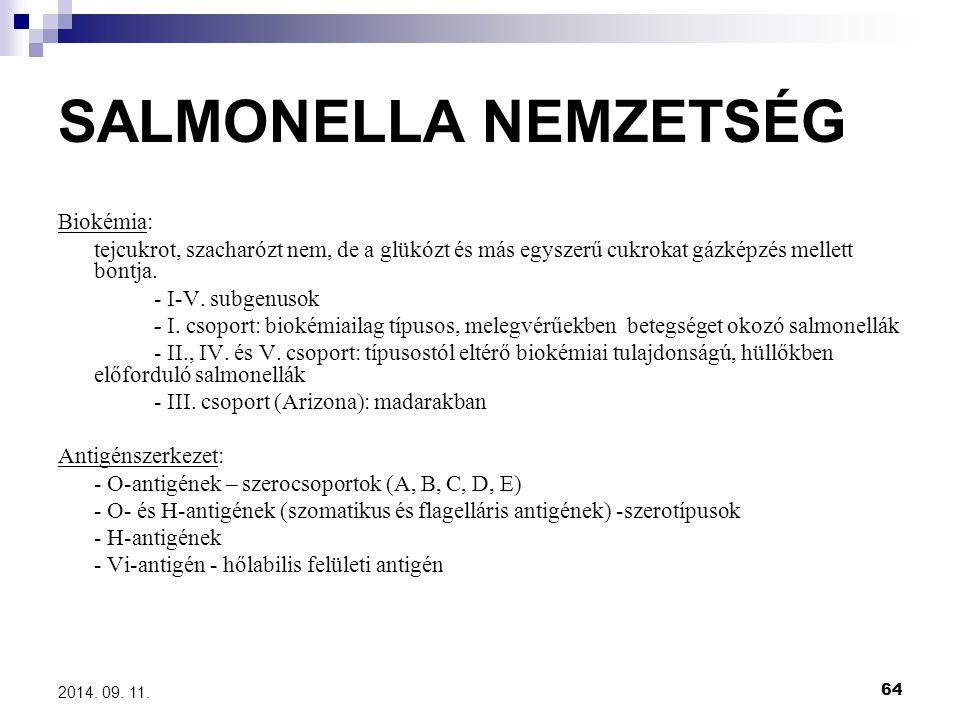 SALMONELLA NEMZETSÉG Biokémia: