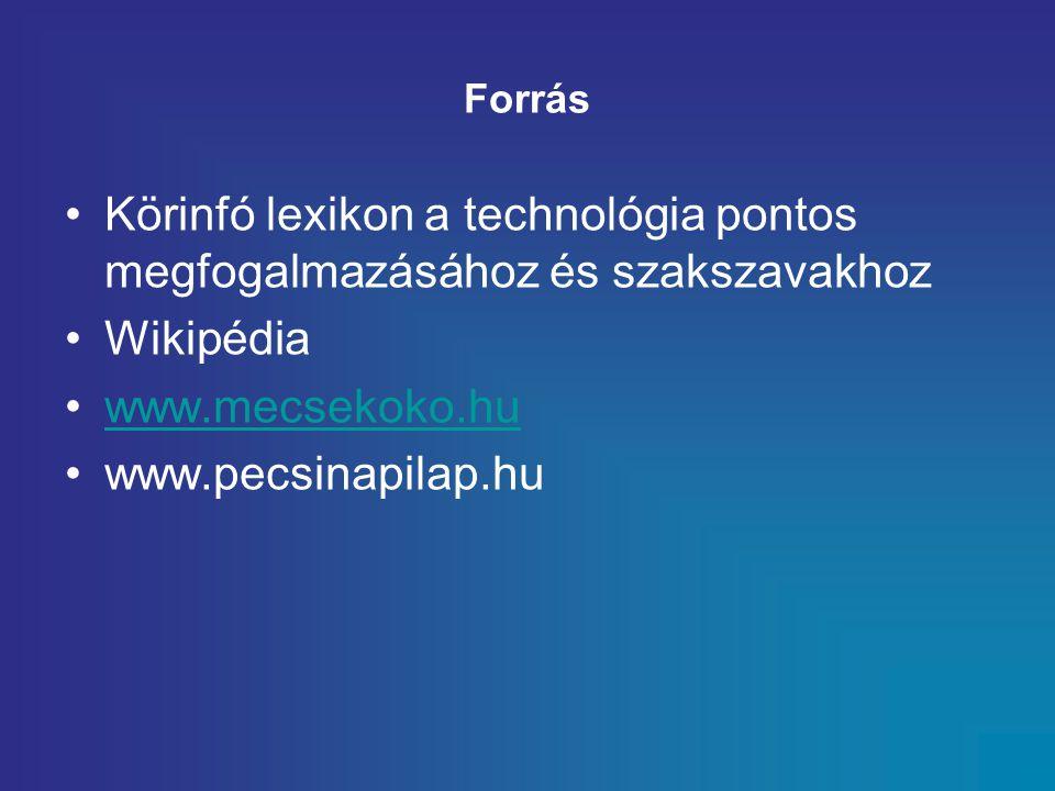 Forrás Körinfó lexikon a technológia pontos megfogalmazásához és szakszavakhoz. Wikipédia. www.mecsekoko.hu.