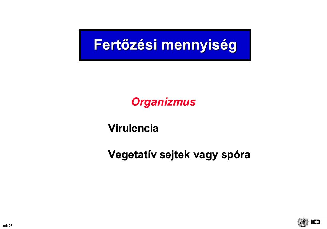 Fertőzési mennyiség Organizmus Virulencia Vegetatív sejtek vagy spóra