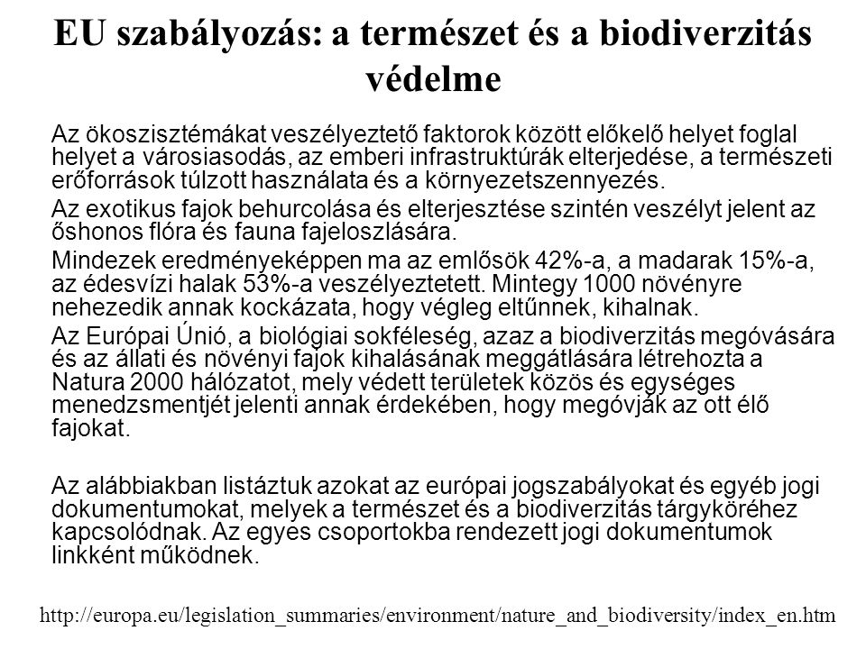 EU szabályozás: a természet és a biodiverzitás védelme