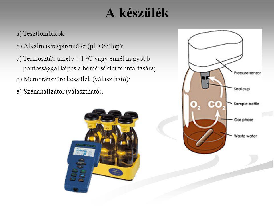 A készülék a) Tesztlombikok b) Alkalmas respirométer (pl. OxiTop);