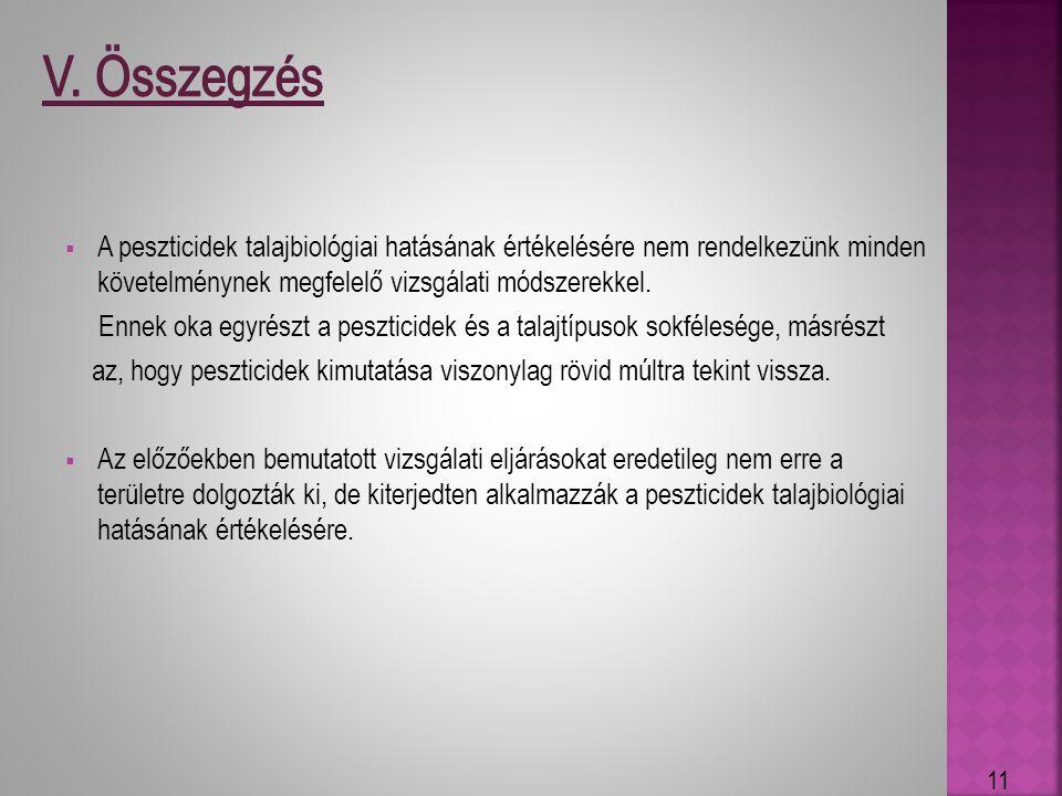 * V. Összegzés. A peszticidek talajbiológiai hatásának értékelésére nem rendelkezünk minden követelménynek megfelelő vizsgálati módszerekkel.