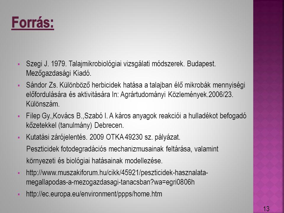 Forrás: Szegi J. 1979. Talajmikrobiológiai vizsgálati módszerek. Budapest. Mezőgazdasági Kiadó.
