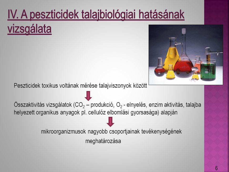 IV. A peszticidek talajbiológiai hatásának vizsgálata