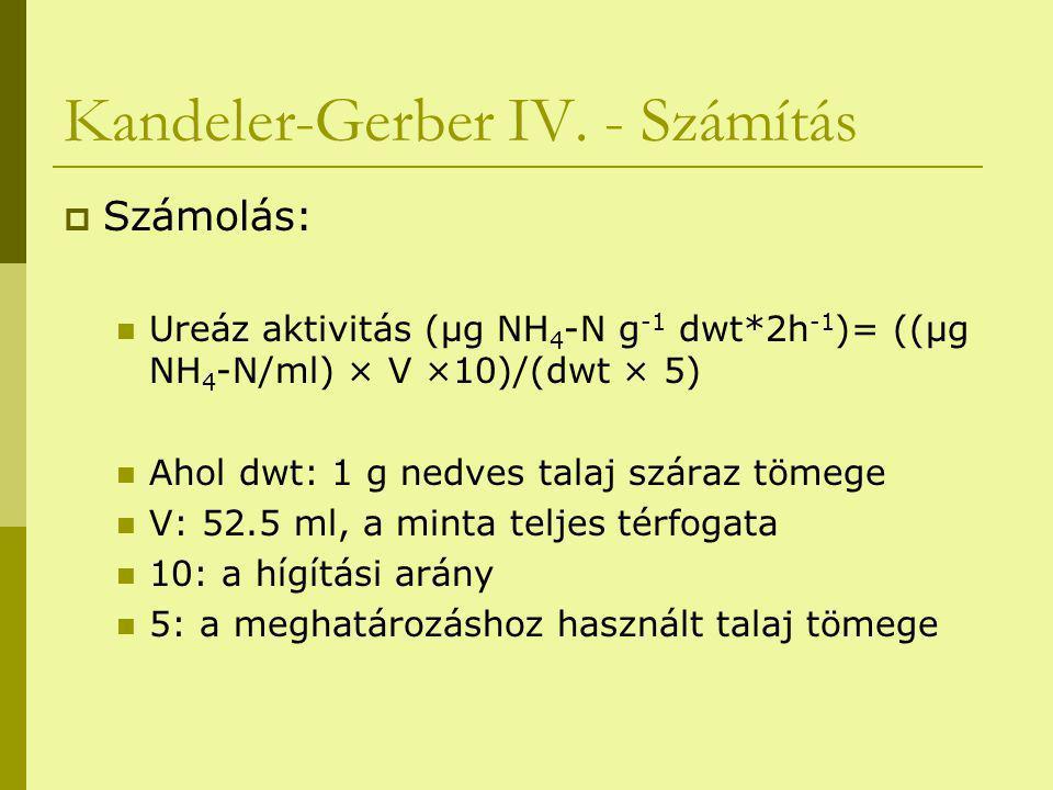 Kandeler-Gerber IV. - Számítás