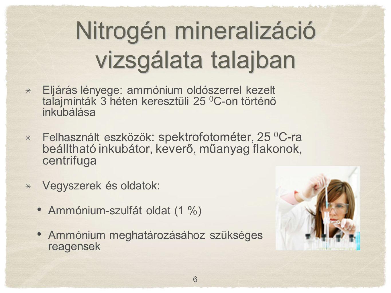 Nitrogén mineralizáció vizsgálata talajban