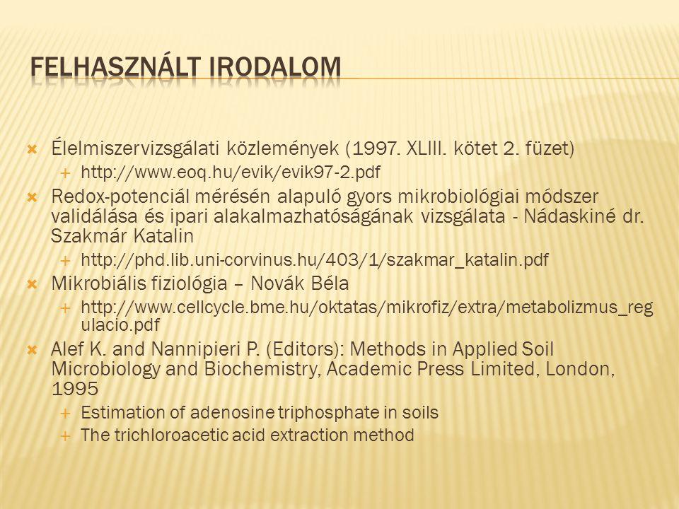 Felhasznált irodalom Élelmiszervizsgálati közlemények (1997. XLIII. kötet 2. füzet) http://www.eoq.hu/evik/evik97-2.pdf.