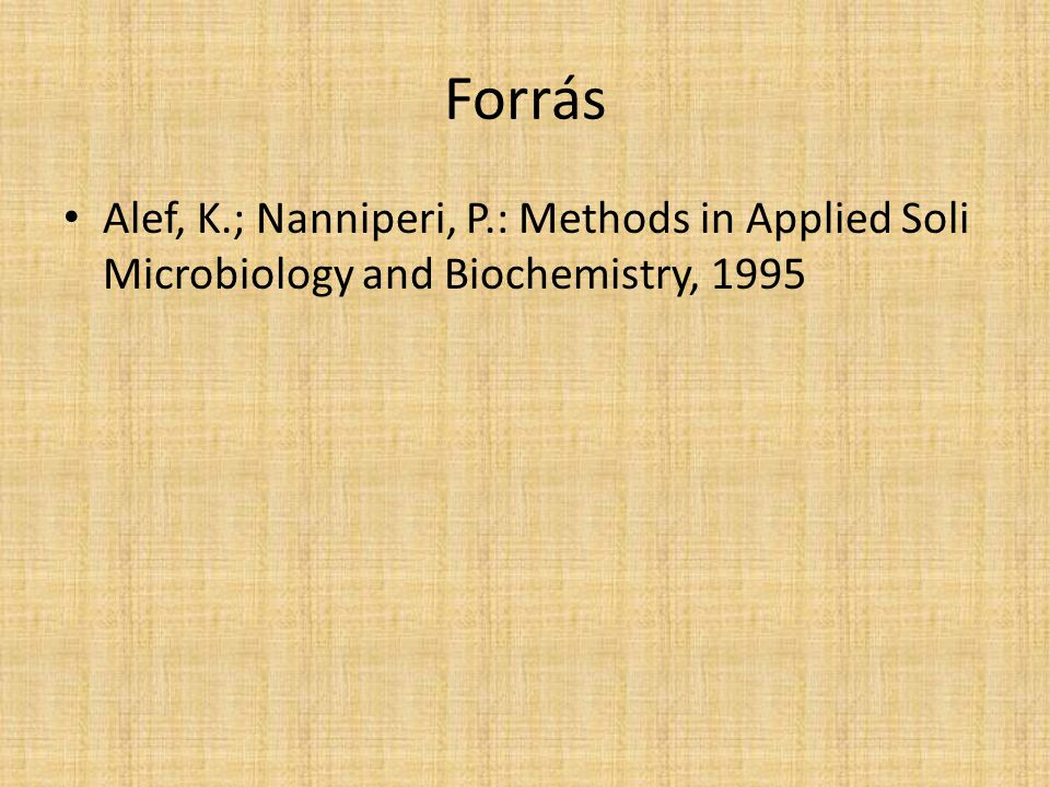 Forrás Alef, K.; Nanniperi, P.: Methods in Applied Soli Microbiology and Biochemistry, 1995