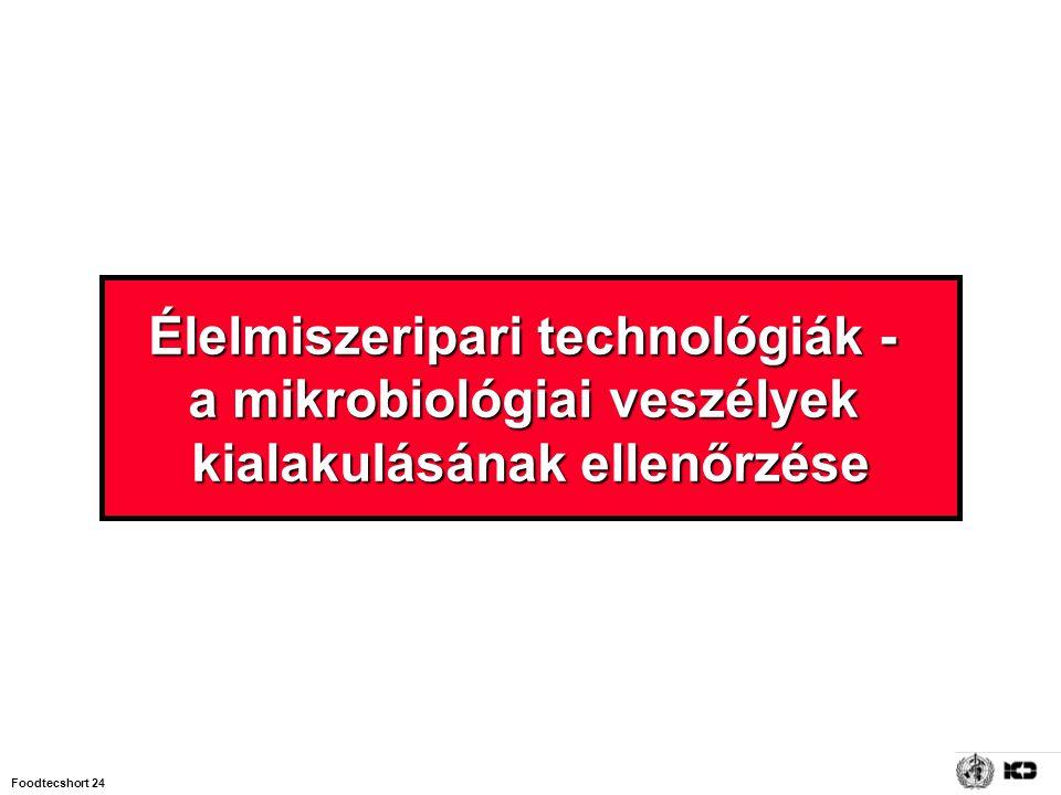Élelmiszeripari technológiák - a mikrobiológiai veszélyek kialakulásának ellenőrzése