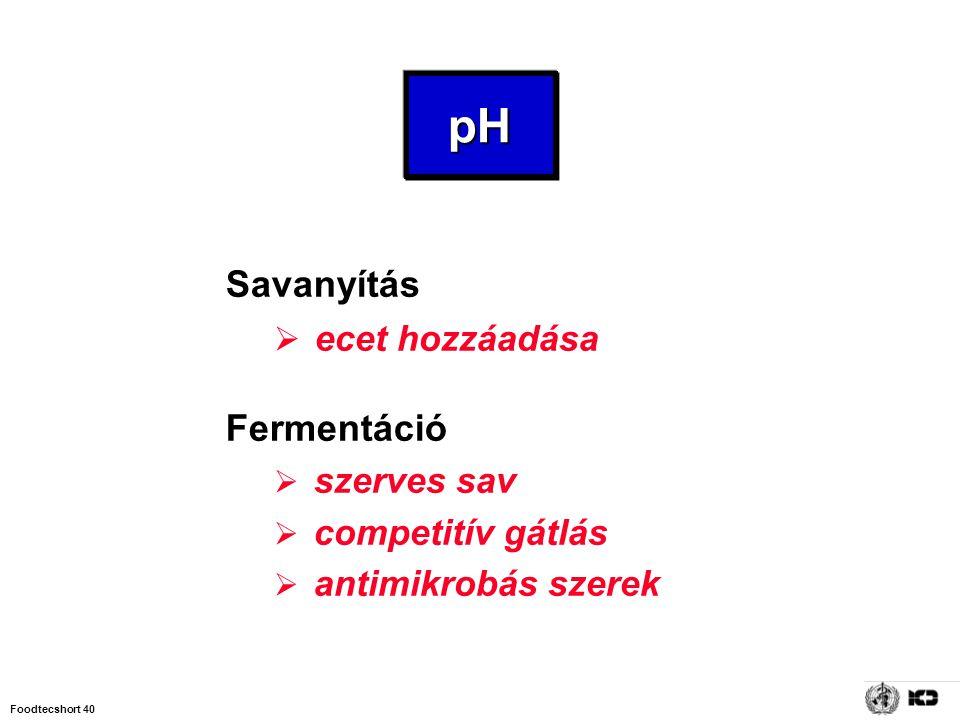 pH Savanyítás ecet hozzáadása Fermentáció szerves sav