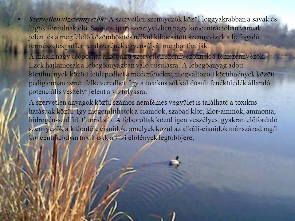 Szervetlen vízszennyezők: A szervetlen szennyezők közül leggyakrabban a savak és lúgok fordulnak elő. Számos ipari szennyvízben nagy koncentrációban vannak jelen, és a megfelelő közömbösítés nélkül kibocsátott szennyvizek a befogadó természetes puffer rendszerének egyensúlyát megbonthatják.